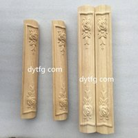 Wholesale Dongyang woodcarving flower applique cabinet accessories furniture column TV cabinet cabinet foot wooden comb mounted side column