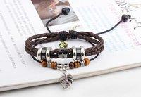 antique garnet bracelets - New Arrival Leather Bracelet Antique Cross Anchor Knitting Bronze Charm Bracelets Women s Men s Gift