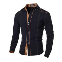 Wholesale Brown Lining Edge Men Shirts Formal Flannel Famous Brand Men Designer Shirts for Men with Polyester