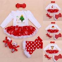 baby girl s shoe socks - New Christmas Girl Set Baby Suits Dress Socks Shoes Hairpins Kids Long Sleeve Snowflake Sets Children Cotton Clothing XMAS Gifts WX C42