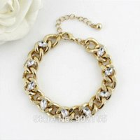 ally beads - Pulseras Para Las Mujeres Elegant Rhinestone With Thick Gold Color Ally Chain Adjustable Bracelets And Bangles