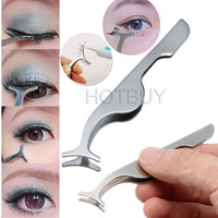 Wholesale Multifunctional Fake Eyelashes Clip Stainless Steel Eyelash Curler Applicator Makeup Tool Auxiliary Eyelash Curler Tweezers Clip