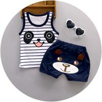 Wholesale 2016 Summer new Baby boys clothing set striped cotton with panda printed children kis vest short suit A108
