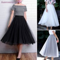 Wholesale Women Tulle Tutu Skirt Black White Grey Long Mid Calf Ball Gown Skirts Wedding Party Adults Skirt One Size Summer New