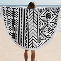 Wholesale 17 Types Cotton Round Beach Towel cm Bath Towel Tassel Decor Geometric Printed Bath Towel Summer Style
