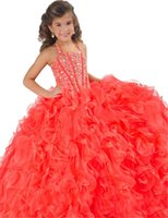 beauty stock photos - The new blushing girl beauty dress cheap stocks beaded straps ruffles sequins children girl princess PROM dresses fluffy skirt formal o
