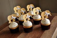 Wholesale Gold Elephant Jungle cupcake toppers inserts cards food picks wedding baby bridal shower Cake Accessories decorations