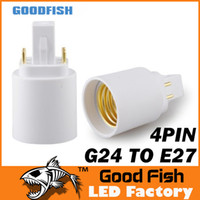 Wholesale G24 to E27 E26 White PIN Base Holder Socket Fire proof material Led Lamp Bulb Adapter Converter G24 E27