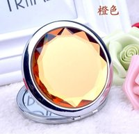 Wholesale Engraved Cosmetic Compact Mirror Crystal Magnifying Make Up Mirror Wedding Gift for Guests
