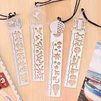 Wholesale Desk Accessories Ruler Bookmarks Hollow thin Mini Metal Bookmark graduated ruler Cartoon Book marks Office School Supplies With Retail Pack