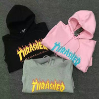 asia sleeve - Fashion Thrasher Hoodie New Skateboard Pullover Hip Hop Fleece Hoodie Asia Size Colors Grey Black Pink Green