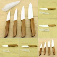 bamboo chef - 4Pcs Kitchen Knives Cooking Tools Bamboo handle with black blade Ceramic Knife Set tools quot quot quot quot