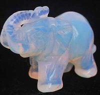 antique stone statues - cheap Moonstone Hand Carved Elephant statue mm