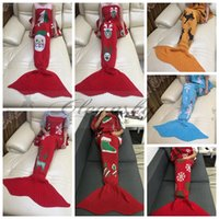 Wholesale Fedex DHL Free cm Christmas Mermaid Tail Blankets Crochet Mermaid Tail Sleeping Bags Cocoon Sofa Blankets skull deer Knit Blanket Z597