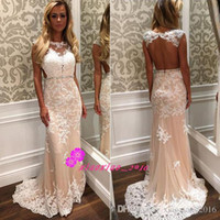 Wholesale Sexy Open Back Sheath Mermaid Prom Dresses with Sheer Jewel Neck Ivory Lace and Champagne Tulle Long Evening Wear Party Pageant Gowns