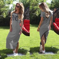 asymetrical dress - Sports Dress Summer Style Women Letter Print Bodycon Dress Casual Gray Short Sleeve O Neck Asymetrical Backless Vestidos