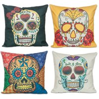 Wholesale FEDEX OR UPS Creative Colors Skull Cushion Cover Linen Cotton Square Skeleton Pillowcase for Sofa Bed Decor