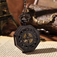 amazing antique - Black Irregular Shape Roman Dial Hand Wind Unisex Pocket Watch Amazing Cross And Bats Watch