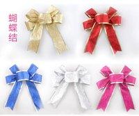 Wholesale Christmas decorations cm onion powder Christmas red color ribbon ribbon bowknot ribbon