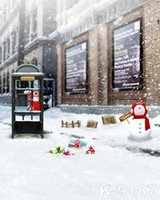 backdrop booth - 5X7ft Christmas Snowman Telephone Booth Background Scenic Backdrop For Wedding Backgrounds Computer Printed Photos Vinyl Backdrop Photograp