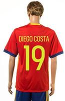 Wholesale 2016 Euro cup Spain away home soccer Jersey FABREGAS A INIESTA European jersey soccer ball short shirts shorts Jerseys