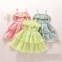 Wholesale Sweet Kids Girls Lace Frilled Ruffles Bow Dress Halter Princess Candy Color Party Dress