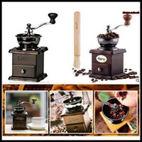 Wholesale Elegant Cooking Tools Mini Manual mill of coffee Wood Stand Bowl Antique Hand grinder of coffee