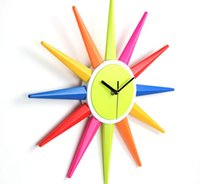 battery clock mechanism - Creative Fashion Colorful Battery Sun Shape Hanging Wall Clock with All metal Pointer and Digital Mechanism Inch Parlour Decoration