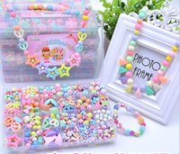 Cheap about 580 pcs 24 lattice DIY Beads for Children BDH handmade toys   Bracelet necklace Acrylic loom bands Bead set for Girl Toys