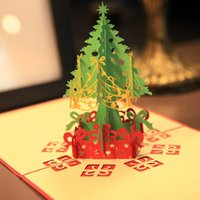 Wholesale 2016 Creative Kirigami Origami D Pop UP Greeting Gift Christmas Cards with Christmas Tree Gifts