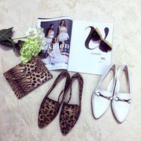 Wholesale The autumn of fashion season shoes Leopard Print white flat shoes Comfortable pointed shoes
