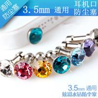 Wholesale Universal mm Anti Dust Headphone Earphone Headset Dustproof Plug Jeweled Diamond Dust Plug Portable For Samsung iphone ipad