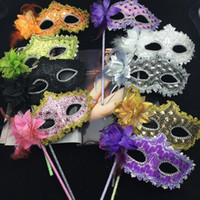 Bohemian adult flower costumes - Luxury Party Masks On Stick Sexy Woman Mask Hold Mask Gold Cloth Coated Flower Side Venetian Masquerade Mask Halloween Costume