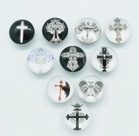 Wholesale 50pcs MM glass cabochon Cross snap buttons fit DIY snap bracelet jewelry mix Random OEM ODM print buttons AC309