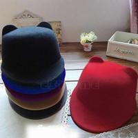 Wholesale 2016 Hot Sell New Winter Women Girl Wool Derby Devil Hat Cute Kitty Cat Ears Bowler Cap