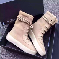 Cheap Kanye West Season 2 Crepe Boot YEZ Brown 2016 New Boot High Cut Made in Spain with Original box fashion sneakers Men women boot size 36-46