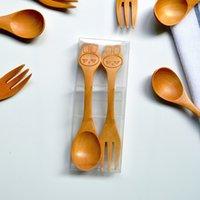 Wholesale 2 SET Cute bunny Spoon Fork Set cm Transparent Box Wooden spoon fork D10