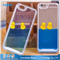 duck swim - DHL Funny Colorful D Liquid Floating Yellow Duck Swimming Fish in Blue Yellow Fluid Phone Case for iPhone s s plus sPlus