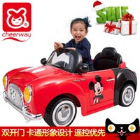 2-4 Years Multicolor Plastic Qiyue Mickey children electric car four wheel drive electric vehicle remote control double shock baby stroller vintage car