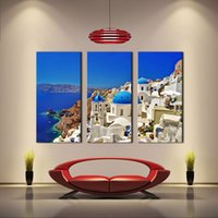 Cheap 3 Picture Combination-Mediterranean - Blue Lagoon, Santorini, Greece - Metal Mural On Canvas Print Art Wall Sculpture Decor