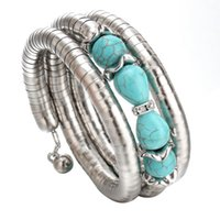 bead tube jewelry - Hot Sale Christmas Gift Vintage Turquoise Beads Crystal Bangles Fashion Bracelets for Women New Tube Chain Fine Jewelry