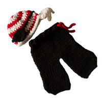 Unisex Spring / Autumn Acrylic Newborn Pirate Costume,Handmade Knit Crochet Baby Boy Girl Pirate Hat Eye Patch and Pants Set,Infant Halloween Costume Photo Prop