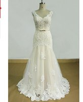 Cheap free shipping Sheath Column Wedding Dress-Champagne Sweep Brush Train V-neck Lace   Tulle babyonline