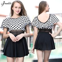 Wholesale Golden Snow children person conservative Cover the belly black wave point sexy full skirt Lin tai Swimwear chest gather together hot spring