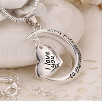 Wholesale Retail New Silver Crescent Moon Heart Charm I Love You to the Moon And Back Necklace