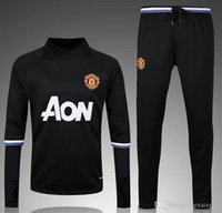 Wholesale Whose good quality MancHESTER jerseys unITED Training suit blue black Long sleeve football shirt