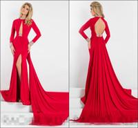 art shirt designs - 2016 Split Evening DresssesLong Sleeve Prom Dress Mermaid Open Back High Neck Crystal Special Front Design Party Dress Evening Gowns
