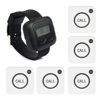 bell hotels - New Wireless Hotel Calling Paging Queuing System Wth White Call Bell Transmitter Button Black Watch Receiver Host F3194A7