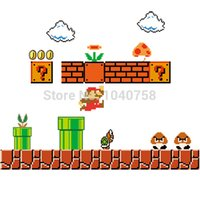 baby art canvas - Removable Super Mario Bros Wall Stickers Pixel Art Grid Cartoon Wall Decals for Kids Baby Rooms Home Decoration WallPaper Poster