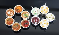 beans soup - 10 pc Ultra Realistic Sweet Soup and Bowl Spoon Key Ring Key Chain Hanging Soup Bowl Keychain Bean Chinese Asian Food Gift Fun